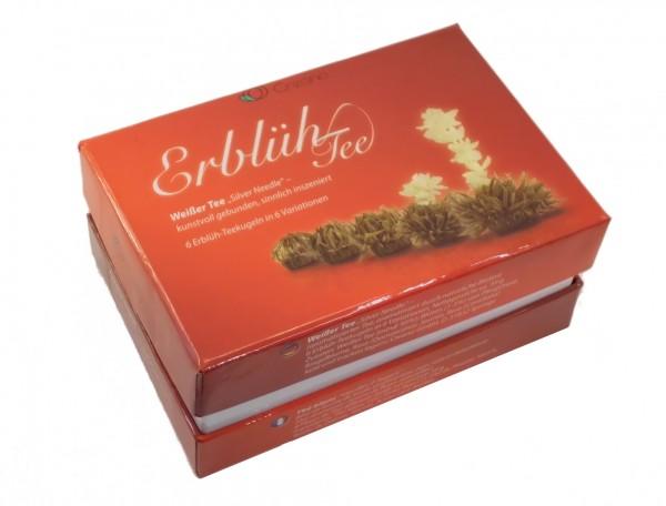 "ERBLÜHTEE-SET, 6 Erblüh-Teekugeln, Weißer Tee ""Silver Needle"""