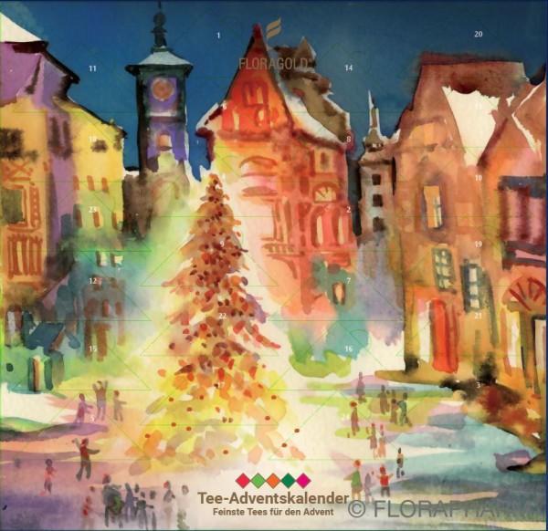 TEE-ADVENTSKALENDER, Motiv Weihnachtsmarkt Aquarell