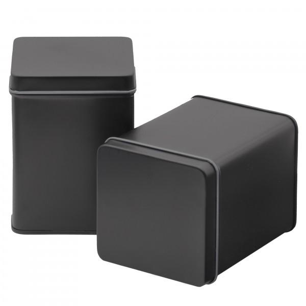 Schwarze Teedose oder Gewürzdose, Set mit 2 Dosen