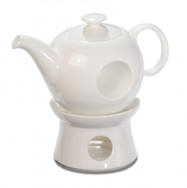 """Teekanne """"Mata Hari"""" mit Stövchen ca. 0,6 L, Porzellan weiß"""