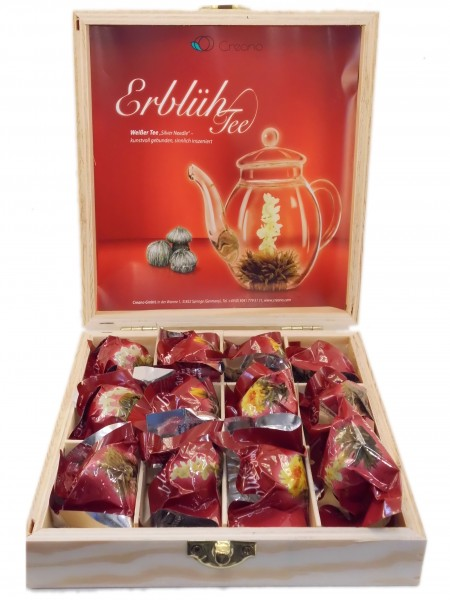 "ERBLÜHTEE-SET, 12 Erblüh-Teekugeln, Weißer Tee ""Silver Needle"""