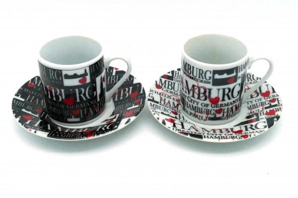 """Espresso-Set """"Hamburg mit Herz"""" in schwarz und weiß"""