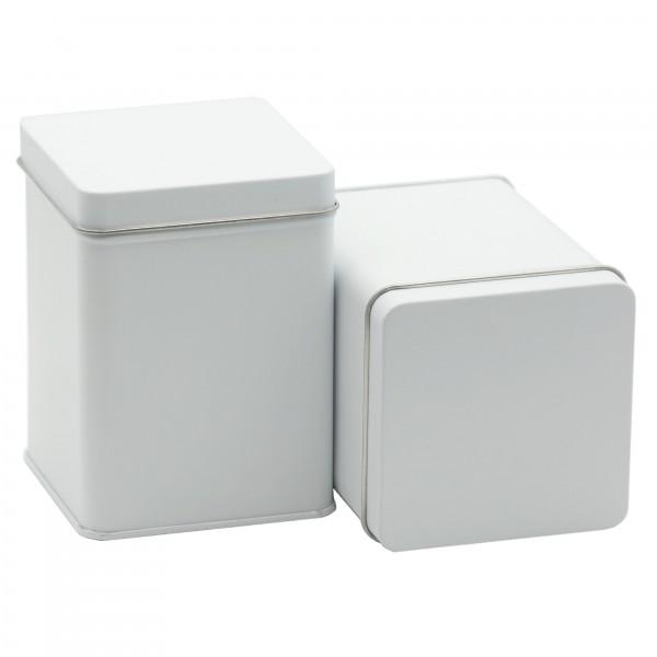 Weiße Teedose oder Gewürzdose, Set mit 2 Dosen