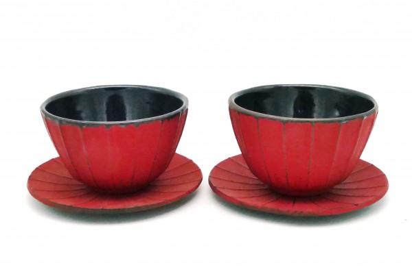 Eisen-Cups, rot, 2er- Set mit Untersetzer