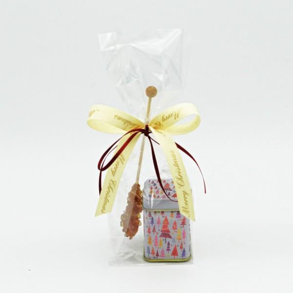 Kleine Weihnachtsdose mit Tee und Kandis-Stick
