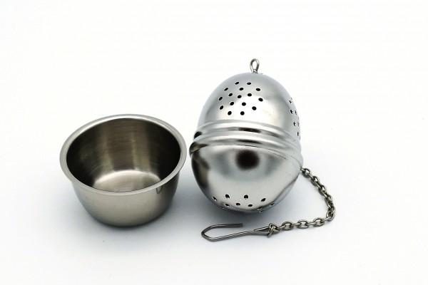 Tee-Ei an Kette mit Ablage Edelstahl