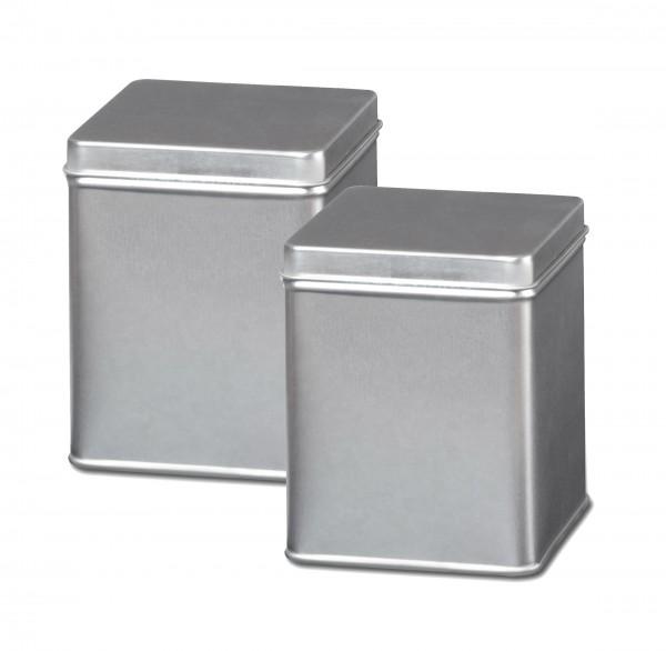 Teedose oder Gewürzdose silbern, Set mit 2 Dosen